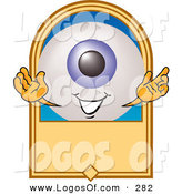 September 18th, 2012: Logo Vector of a Friendly Blue Eyeball Mascot Cartoon Character on a Blank Tan Label by Toons4Biz