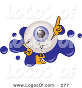 Logo Vector of a Friendly Blue Eyeball Mascot Cartoon Character Pointing Upwards and Standing in Front of a Blue Paint Splatter on a Logo by Toons4Biz