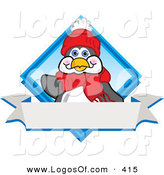 June 12nd, 2013: Logo Vector of a Friendly Penguin Mascot Cartoon Character Waving on a Blue Diamond Logo with a Blank White Banner by Toons4Biz