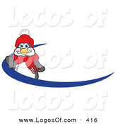 June 13th, 2013: Logo Vector of a Friendly Penguin Mascot Cartoon Character Waving on a Blue Logo Streak Dash or Name Tag by Toons4Biz