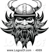 Logo Vector of a Grayscale Viking Man Logo by Vector Tradition SM