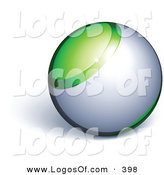 Logo Vector of a Green and Silver Marble Orb Above Space for a Business Name and Slogan, on a White Background by Beboy