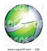 Logo Vector of a Green Arrow Circling a Sphere Orb by Beboy