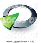 Logo Vector of a Green Arrow in a Silver Circular Dial, Above Space for a Business Name and Company Slogan on White by Beboy