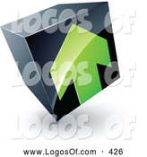 Logo Vector of a Green Arrow Pointing up on a Tilted Black Cube, Above Space for a Business Name and Company Slogan by Beboy