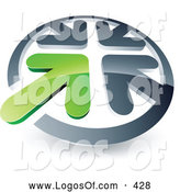 June 28th, 2013: Logo Vector of a Green Arrow Standing out in a Circle of Silver Arrows, Above Space for a Business Name and Company Slogan by Beboy