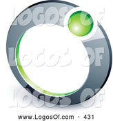 Logo Vector of a Green Ball Set in a Chrome Ring, Above Space for a Business Name and Company Slogan by Beboy