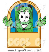 Logo Vector of a Green Dollar Bill Mascot Cartoon Character on a Blank Tan Label on White by Toons4Biz