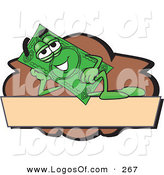 Logo Vector of a Green Happy Dollar Bill Mascot Cartoon Character Reclining on a Blank Tan and Brown Label by Toons4Biz