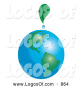 Logo Vector of a Green Leaf Dripping on Planet Earth by Pams Clipart