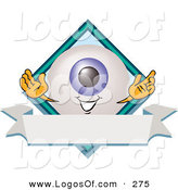 Logo Vector of a Grinning Blue Eyeball Mascot Cartoon Character on a Business Logo Label by Toons4Biz