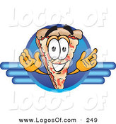 Logo Vector of a Grinning Cheese Pizza Mascot Cartoon Character on a Blue Business Logo by Toons4Biz