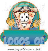 Logo Vector of a Grinning Cheese Pizza Mascot Cartoon Character over a Blank Banner by Toons4Biz
