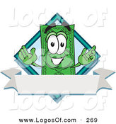 Logo Vector of a Grinning Dollar Bill Mascot Cartoon Character over a Blank White Label by Toons4Biz