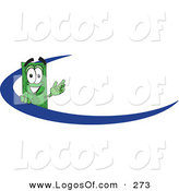 Logo Vector of a Grinning Dollar Bill Mascot Cartoon Character Waving and Standing Behind a Blue Dash on an Employee Nametag or Business Logo by Toons4Biz