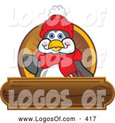 June 18th, 2013: Logo Vector of a Grinning Friendly Penguin Mascot Cartoon Character Waving on a Wooden Logo Plaque by Toons4Biz