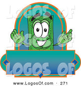 Logo Vector of a Grinning Green Dollar Bill Mascot Cartoon Character on a Blank Label by Toons4Biz