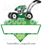 August 6th, 2012: Logo Vector of a Grinning Green Lawn Mower Mascot Cartoon Character Mowing Grass over a Blank White Label by Toons4Biz