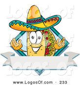 Logo Vector of a Grinning Hispanic Taco Mascot Cartoon Character over a Blank White Banner on a Label by Toons4Biz