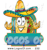 Logo Vector of a Grinning Mexican Taco Mascot Cartoon Character over a Blank Banner by Toons4Biz