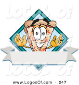 Logo Vector of a Grinning Pizza Mascot Cartoon Character over a Blank White Business Label Banner by Toons4Biz