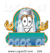Logo Vector of a Grinning Salt Shaker Mascot Cartoon Character over a Blank Label by Toons4Biz