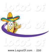 Logo Vector of a Grinning Taco Mascot Cartoon Character Waving and Standing Behind a Purple Dash on an Employee Nametag or Business Logo by Toons4Biz