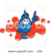 Logo Vector of a Grinning Water Drop Mascot Cartoon Character Pointing up and Standing in Front of a Red Paint Splatter on a Business Logo by Toons4Biz