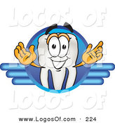 Logo Vector of a Grinning White Tooth Mascot Cartoon Character on a Blue Logo by Toons4Biz