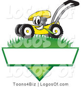August 2nd, 2012: Logo Vector of a Grinning Yellow Lawn Mower Mascot Cartoon Character Mowing Grass over a Blank White Label by Toons4Biz