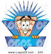 Logo Vector of a Grinnning Pizza Mascot Cartoon Character on a Blank Blue Label by Toons4Biz