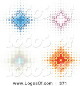 Logo Vector of a Group of 4 Blue, Pink, and Orange Diamond Backgrounds with Dots Spanning from the Center by KJ Pargeter