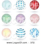 Logo Vector of a Group of Nine Blue, Red, Green and Purple Grid, Star, Lined, Spotted, Burst, and Square Patterned Sphere Logo Icons with Shadows by KJ Pargeter