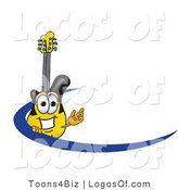 Logo Vector of a Guitar Mascot Logo with a Blue Dash by Toons4Biz