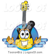 Logo Vector of a Guitar Mascot Logo with a Circle and Lines by Toons4Biz