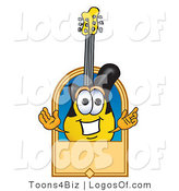 Logo Vector of a Guitar Mascot with a Blank Tan Label by Toons4Biz