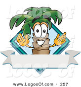 Logo Vector of a Happy and Grinning Palm Tree Mascot Cartoon Character over a Blank Banner on a Travel Business Label Logo by Toons4Biz