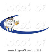Logo Vector of a Happy and Grinning Tooth Mascot Cartoon Character Behind a Dash on an Employee Nametag or Business Logo by Toons4Biz