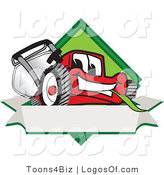 August 14th, 2012: Logo Vector of a Happy and Outgoing Red Lawn Mower Mascot Cartoon Character on a Blank Label by Toons4Biz