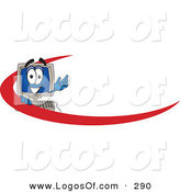 Logo Vector of a Happy and Smiling Desktop Computer Mascot Cartoon Character with a Red Dash on an Employee Nametag or Business Logo by Toons4Biz