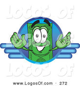 Logo Vector of a Happy and Smiling Dollar Bill Mascot Cartoon Character on a Blue Business Logo by Toons4Biz