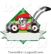August 8th, 2012: Logo Vector of a Happy and Smiling Red Lawn Mower Mascot Cartoon Character Chewing Grass on a Blank Ribbon Label by Toons4Biz