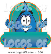 Logo Vector of a Happy and Smiling Water Drop Mascot Cartoon Character on a Blank Label by Toons4Biz