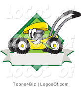 August 9th, 2012: Logo Vector of a Happy and Smiling Yellow Lawn Mower Mascot Cartoon Character Chewing Grass on a Blank Ribbon Label by Toons4Biz