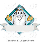 Logo Vector of a Happy Blimp with a Blank Ribbon Label by Toons4Biz