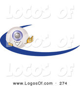 Logo Vector of a Happy Blue Eyeball Mascot Cartoon Character Waving and Standing Behind a Blue Dash on an Employee Nametag or Business Logo by Toons4Biz