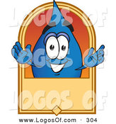 Logo Vector of a Happy Blue Water Drop Mascot Cartoon Character on a Blank Tan Label, Logo or Sign by Toons4Biz