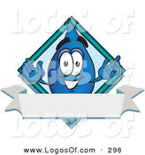 Logo Vector of a Happy Blue Water Drop Mascot Cartoon Character over a Blank Banner on a Logo by Toons4Biz