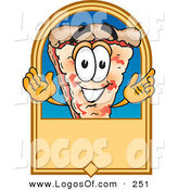 Logo Vector of a Happy Cheese Pizza Mascot Cartoon Character on a Blank Tan Label or Sign by Toons4Biz
