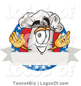 August 30th, 2012: Logo Vector of a Happy Chef's Hat Mascot Cartoon Character over a Blank Banner Label with Stars by Toons4Biz